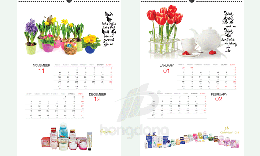 Mẫu thiết kế lịch theo yêu cầu đẹp giá rẻ
