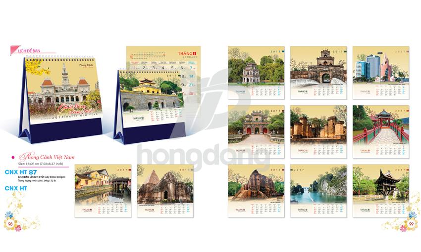Mẫu lịch để bàn chữ A chủ đề nét đẹp Hà Nội